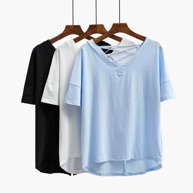V 2016 A Backless String Estate Shirt Scollo Donna Croce T Con iPXlOZuwkT