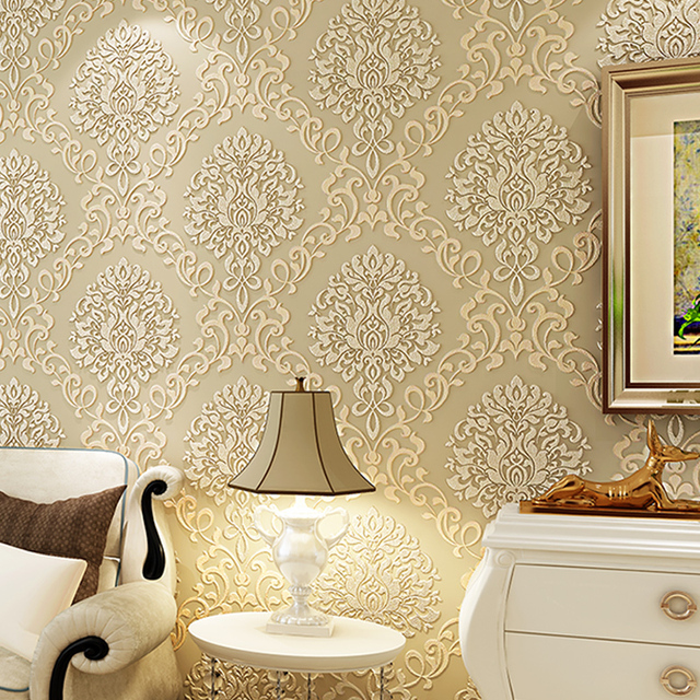 wall paper Pune Jane European Damascus wallpaper 3D stereoscopic relief backdrop wallpaper non-woven wallpaper bedroom living r