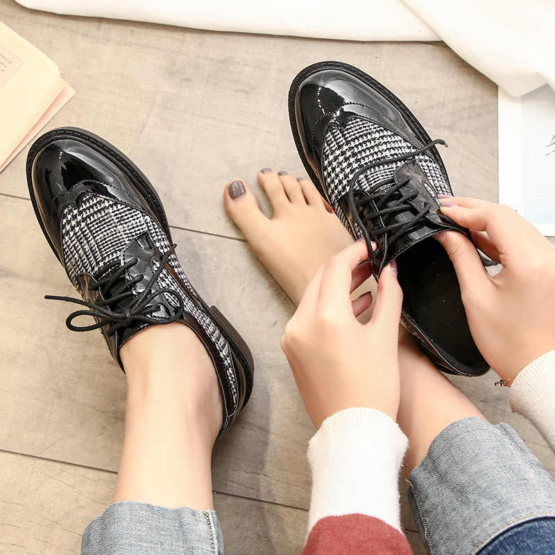 japanned leather plaid cross-tied oxford shoes woman creepers platform shoes female footware shoes retro leather derby shoes