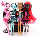 Muñecas de moda 4 unids/set ucanaan draculaura/clawdeen wolf/frankie stein/negro wydowna araña cuerpo móvil girls toys regalo