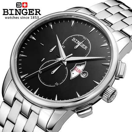 Binger Winner Brand Fashion Business Watch Calendar Date Men Boy Quartz Wristwatch Waterproof Stainless Steel Outdoor  Watches winner single album our twenty for random cover release date 2017 08 08