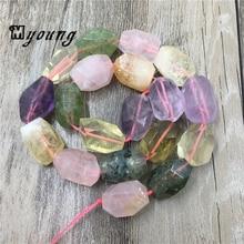 цена MY1515 Mix Color Faceted Purple Amethysts Roses Quartz Green Prehnites Yellow Crystal Cut Nugget Loose Stone Drilled Beads онлайн в 2017 году
