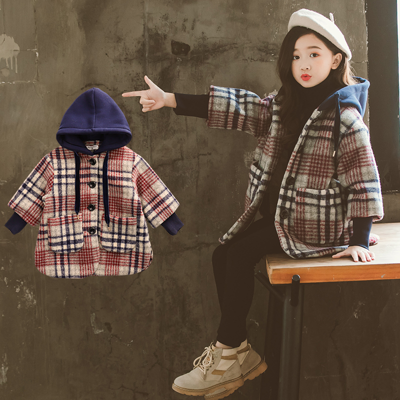 3-11 year old girl Windbreaker autumn and winter Fashion thickening Hooded woolen coat Fashion kids outwear Large pocket