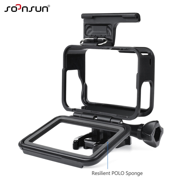 SOONSUN Standard Frame Mount Wire Connectable Protective Housing Case Shell w/ Soft Lens Cap for GoPro Hero 5 6 7 Black Camera