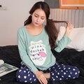 2017 Moda Para Mujer de Algodón Pijamas Pjs Set Simple Gris Loungewear Pijama Traje de Las Señoras Top de Manga Larga Ropa de Dormir