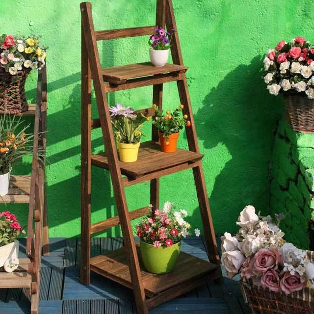 Beau Three Flower Garden Folding Wood Furniture Shelving Racks Landscape  Gardening Outdoor B22