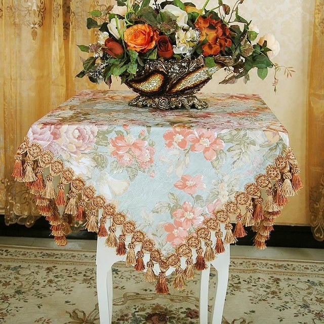 High End Dining Table Cloth Floral Round Rectangle Tablecloth Pastoral Living Room TV Cabinet Can Be Customized