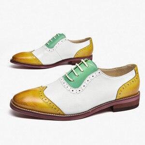 Image 3 - Yinzo נשים של דירות אוקספורד נעלי אישה עור אמיתי סניקרס ליידי נעלי בציר נעליים יומיומיות לנשים בעבודת יד 2020 אביב