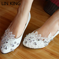 LIN KING Women Wedding Shoes Handmade Lacing Appliques Low Top Slip On Pointed Toe Patent Leather Flat Bridemaid Dressing Shoes