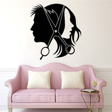Wall Art Sticker Hairdresser Stylist Room Decoration Unisex beauty Salon Poster Vinyl Removeable Mural Haircuts Ornament LY394