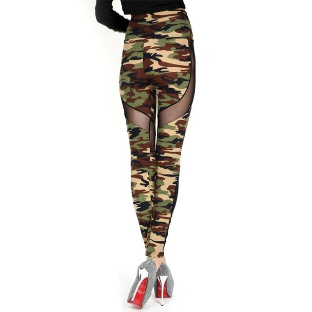 High Waist Mesh Camouflage Leggings