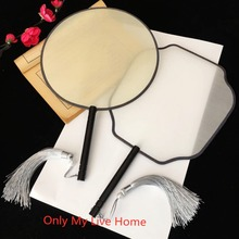 Traditional Craft Blank Chinese Mulberry Silk Fan Hand Painting  Round White Fans Adult DIY Embroidery Vintage Handle