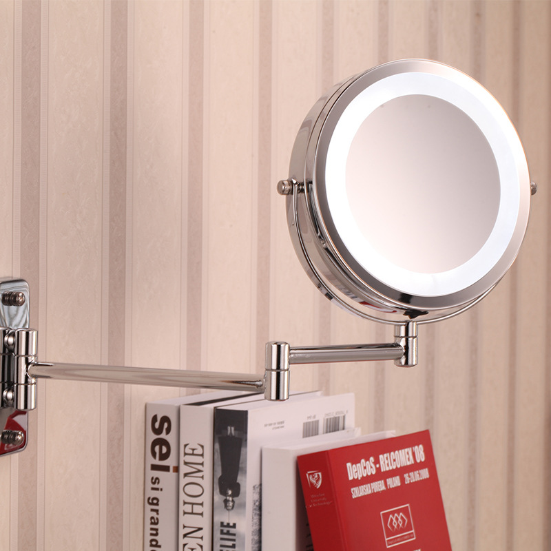 fashion 7 inch battery LED bathroom wall mirror Dual Arm Extend 2-Face metal Makeup mirror 5X magnifying Extending Folding large 8 inch fashion high definition desktop makeup mirror 2 face metal bathroom mirror 3x magnifying round pin 360 rotating