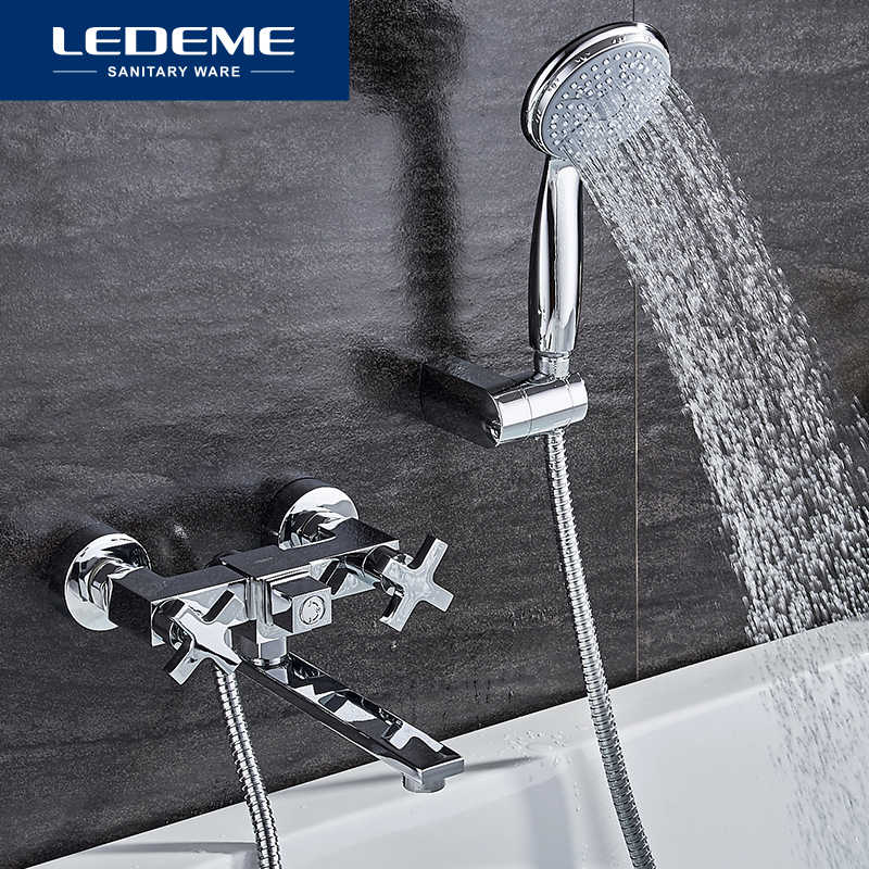 LEDEME 1 Set Classic Bathtub Faucets Single Handle Brass Bath Faucet Mixer Tap Shower Head Kit Bathtub Shower Faucet Sets L3184