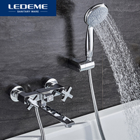 LEDEME 1 סט קלאסי אמבטיה ברזי ידית אחת פליז אמבטיה ברז מיקסר ברז מקלחת ראש ערכת אמבטיה מקלחת ברז סטים l3184