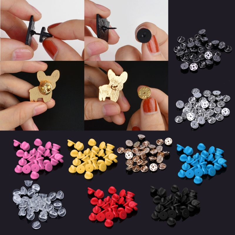 30Pcs Comfort Fit Butterfly Clutch Rubber Pin Backs Replacement  Brooch Finding