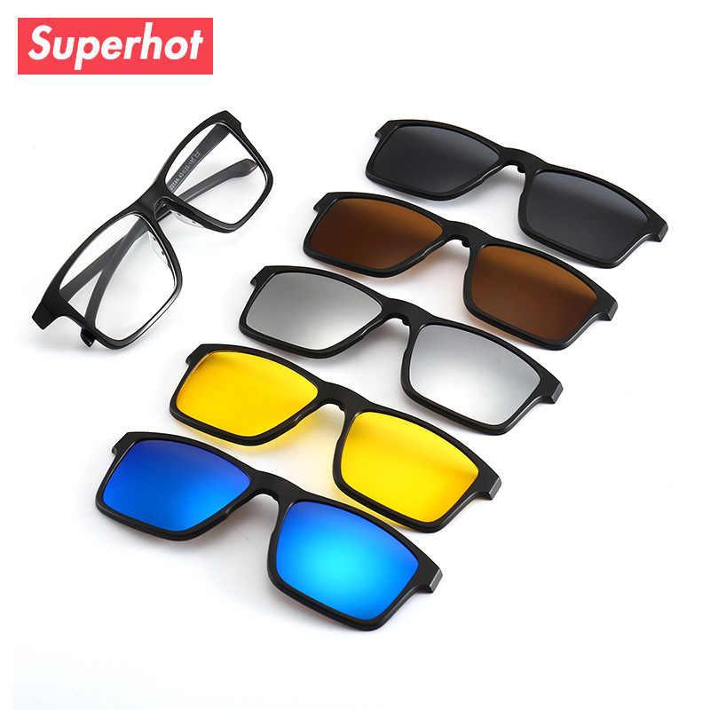 13472bfca515 Detail Feedback Questions about Superhot Polarized Sunglasses Men Women 5  In 1 Magnetic Clip On Glasses Optical Prescription Eyewear Light weight  Eyeglass ...