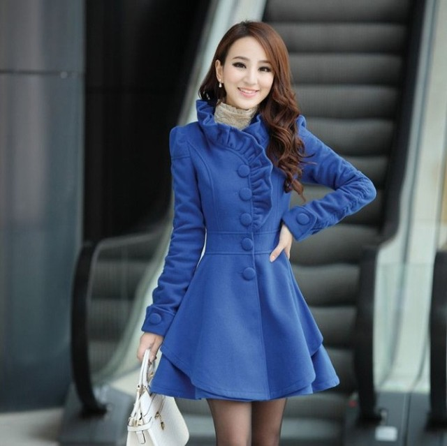 2013 new arrival winter hot sale sweet puff sleeve retro skirt women's wool coats