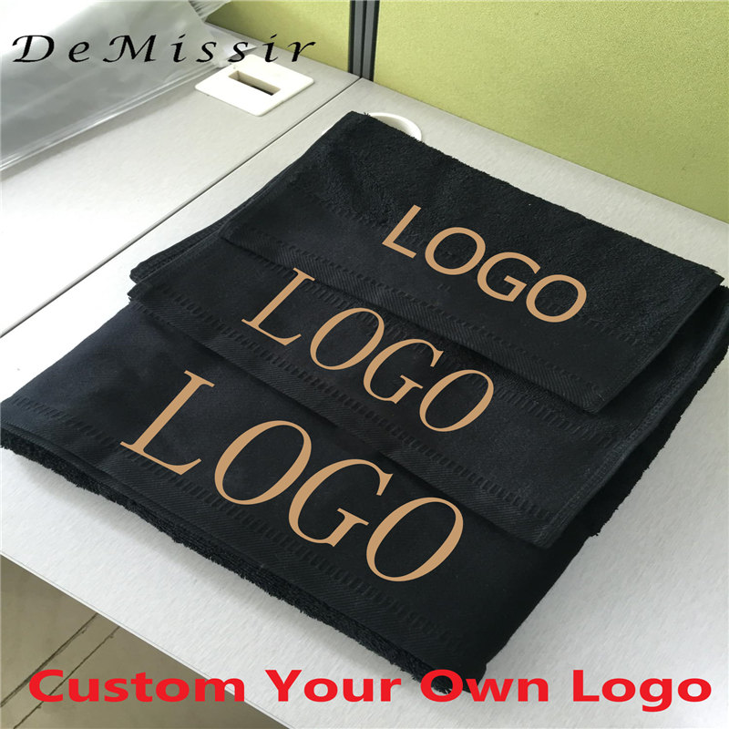 Custom Logo Towel Set 1000G 100% Egyptain Cotton 3PCS Set  Bath+Face+Hand Towels Thickened Hotel Black Bath Towels Home Textile