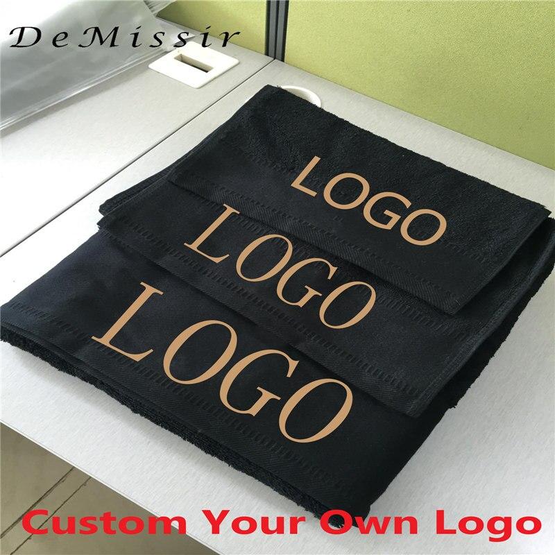 Custom Logo Towel Set 1000G 100% Egyptain Cotton 3PCS Set Bath+Face+Hand Towels Thickened Hotel Black Bath Towels Home Textile