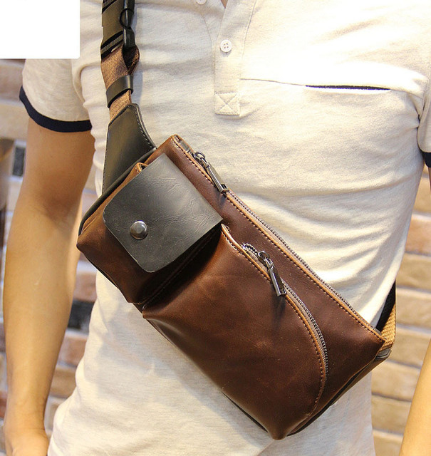 45d65efee3 2017 New Fashion Style crazy horse PU Leather Men Chest Pack Casual Small Bag  Shoulder Bag