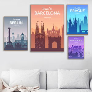 Image 3 - Paris Berlin Istanbul Prague florence Nordic Posters And Prints Wall Art Canvas Painting Wall Pictures For Living Room Decor