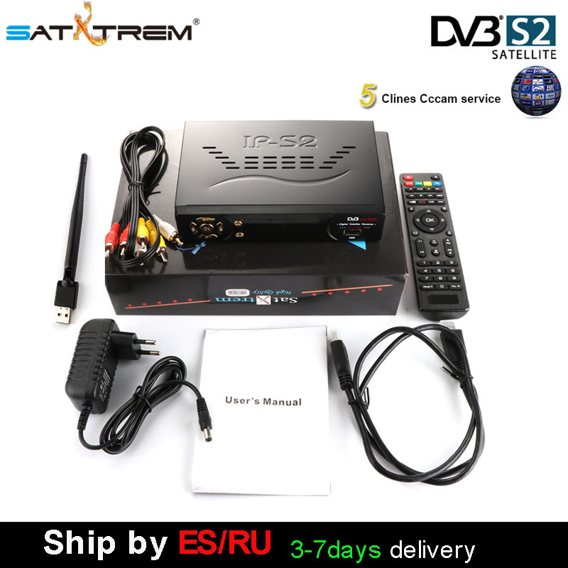 SATXTREM IPS2 Plus DVB-S2 Digital Satellite Receiver with USB Wifi antenna support Cccam Decoder Youtube yourporn ES/UK/Italy