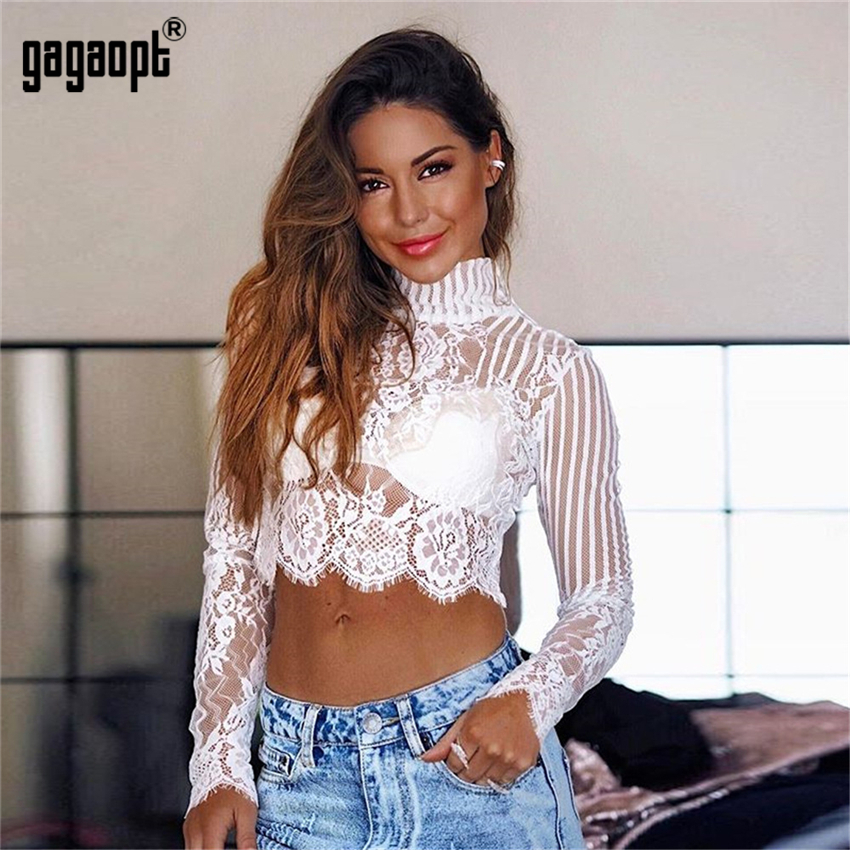 T-shirts Spring Perspective Crop Top Women Long Sleeve Turtleneck Ladies Lace Tops White/black Sexy Tops With Zipper Blusas Women's Clothing