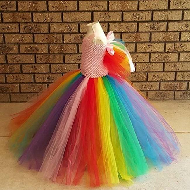 Rainbow Tutu Inspired Pony costume - Rainbow Birthday party, Tea party, size1