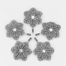 5 stücke Antike Silber Große Offene Blume Charms Anhänger Runde 10mm Tabletts Cameo Cabochon Einstellung Schmuck Finding 66mm(China)