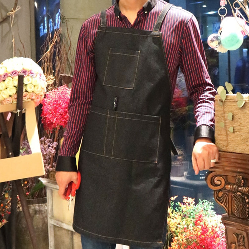 Blue Black Denim Apron Florist Painter Gardener Artist Barber Work Wear Barista Barman Bistro Baker Uniform Print Your Logo K51