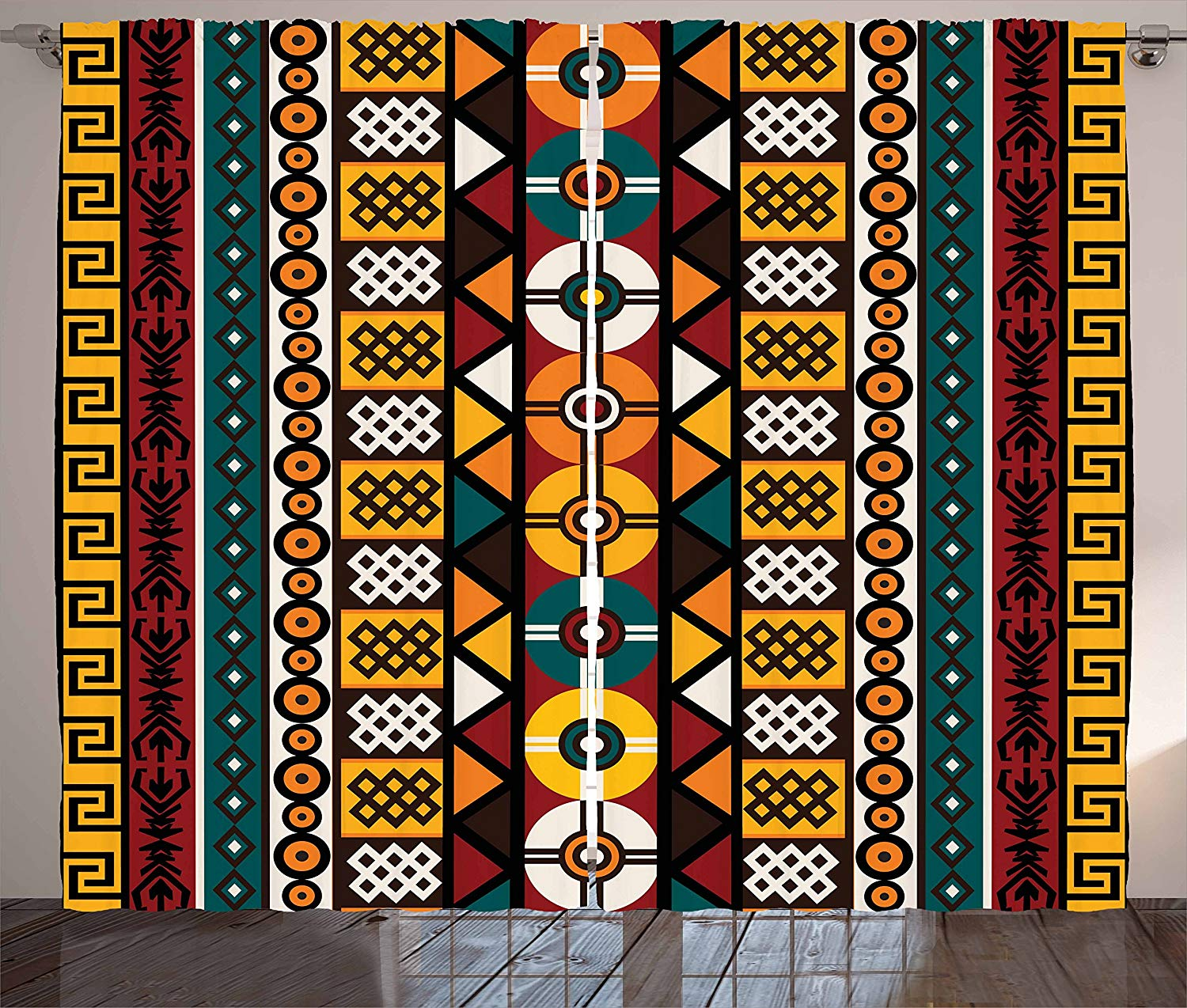 Kente Pattern Curtains Vertical Borders Inspired By Primitive African Cultures Geometrical Design Living Room Bedroom Window