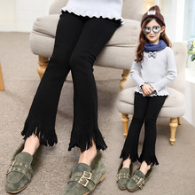 Weixu Baby Girls Black Jean Pant Kids Autumn Winter Plus Velvet Lace Flare Pants Children Thick Warm Outwear Leggings Trousers