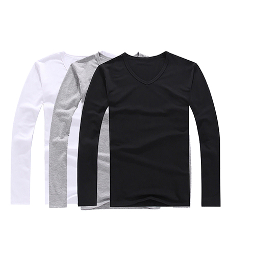 Men's Fashion Slim Fit Cotton V-neck Long Sleeve Casual T-shirt Concise Top