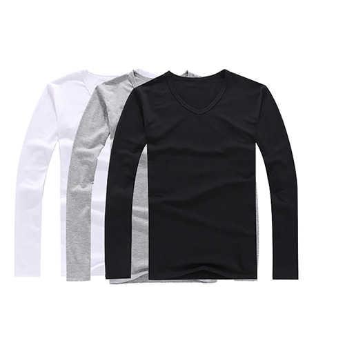 Nam Thời Trang Slim Fit Bông V-Cổ Dài Sleeve Casual T-Shirt Ngắn Gọn Top