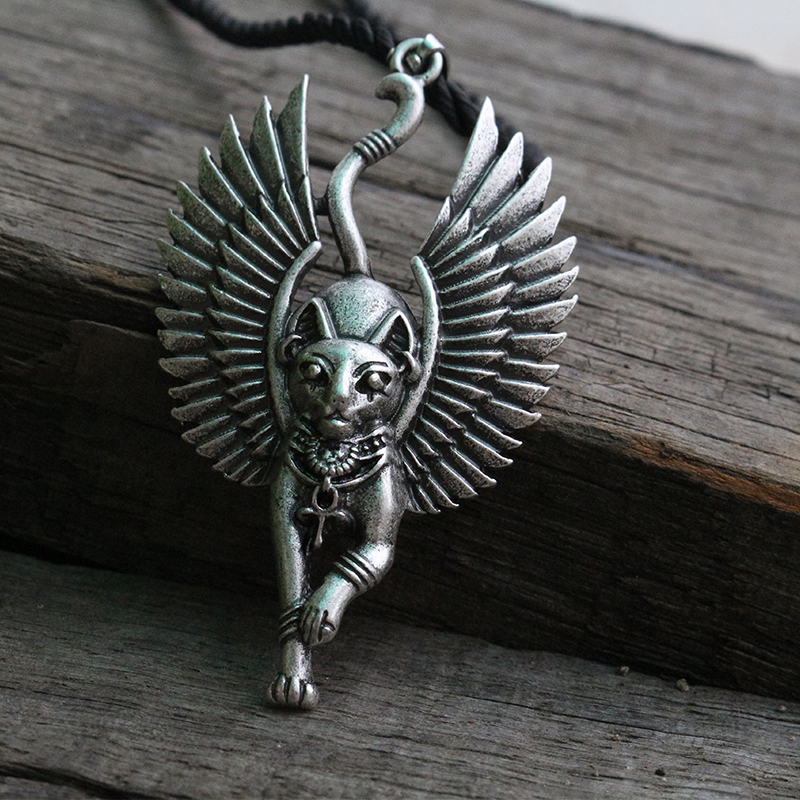 lanseis 1pcs Cat Bastet necklace Ancient Egyptian Bastet Statue Egyptian Sphinx Black cat Bastet pendant Egypt cat with wing