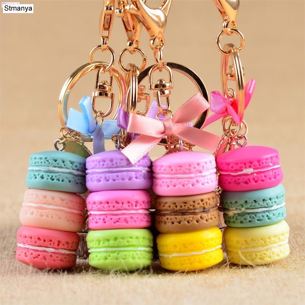LLavero de pastel de mujer a la moda lindo pastel francés llavero bolsa encanto coche llavero boda fiesta regalo joyería 17278