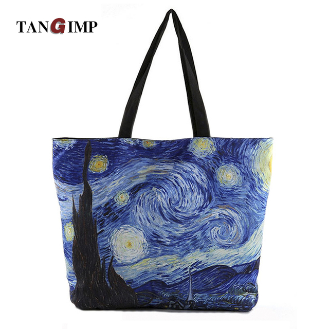 2017 New bayan canta Van Gogh Handbags Starry Night Sky Printed Tote Bags for Women Single Shopping Shoulder Beach Bags