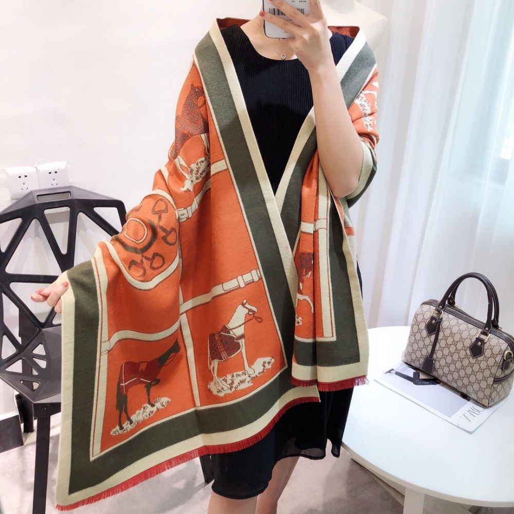 Women Scarf Winter Autumn Women Scarves Wrap Shawl Thick Women's Scarf Warm Cotton Cashmere Wool Blended  Brushed Scarf