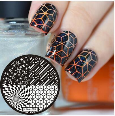 Hot Sale 2018 Nail Art Stamping Template Placa Cube Retângulo Círculo Pentagrama Nail Art Stamp Template Placa Imagem # hehe003 #