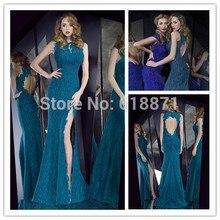 Wholesale Floor Length V Neck Mermaid Lace Evening Dresses With Train 2014 Keyhole Back High Slit Dress