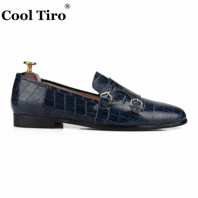 Crocodile print Double-Monk Loafers Men Moccasins SmokingSlippers Wedding Dress Shoes Men's Flats Casual Shoes Leather Handmade