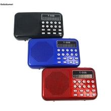 Kebidumei ポータブルデュアルバンド充電式デジタル Led ディスプレイパネルステレオ FM ラジオスピーカー USB TF ミルコ sd カード MP3 プレーヤー