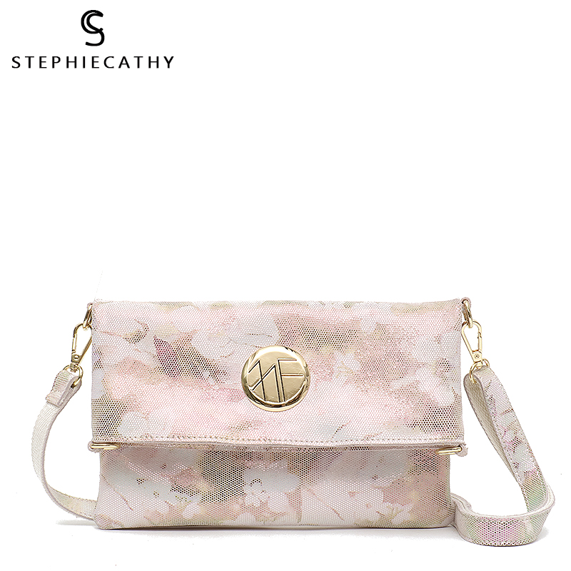 SC Luxury Women Clutch Genuine Cow Leather Purse Handbag Fashion Flower Print High Quality Fold Flap
