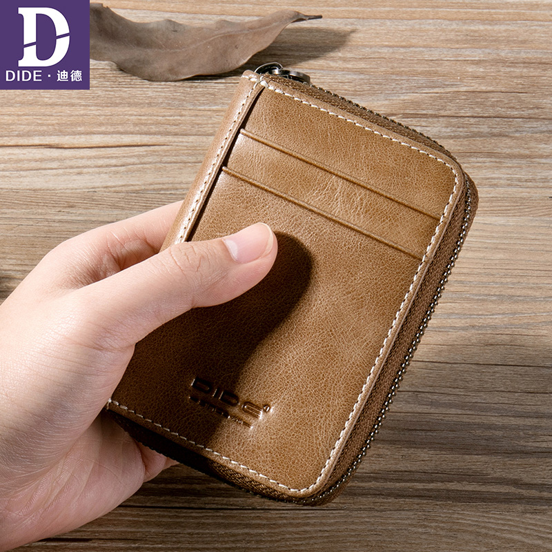 DIDE Large capacity Small Genuine Leather Wallet Men Coin purse wallet woman card wallet for credit cards