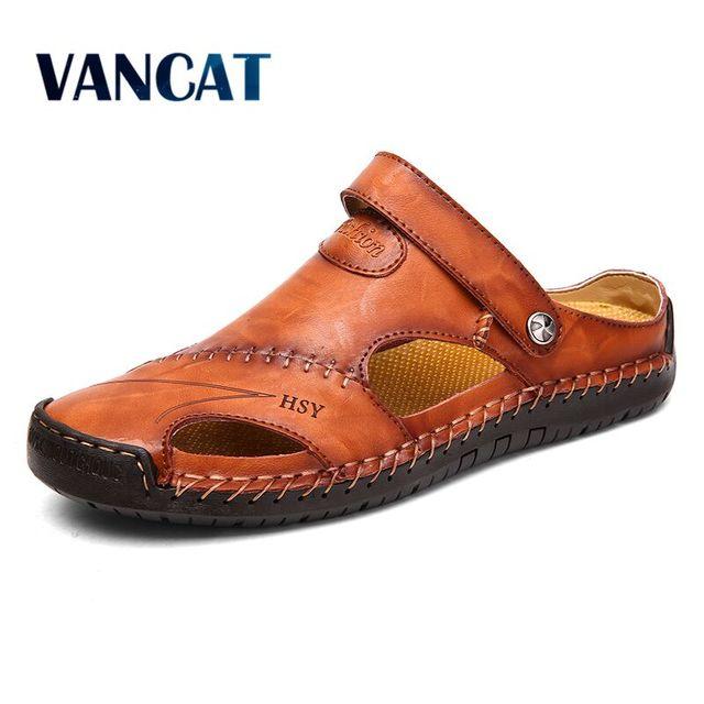 Мужские кожаные сандалии в классическом стиле, красно-коричневые сандалии с резиновой подошвой, для улицы и пляжа, обувь для походов, обувь ...