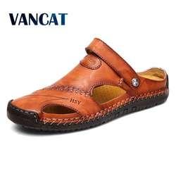 Летние сандалии для мужчин кожаные классические римские сандалии 2019 тапочки открытый тапки пляжные резиновые шлепанцы Для мужчин воды