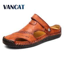 a8fc8a3de07 Sandales d été hommes en cuir classique sandales romaines 2019 pantoufle en  plein air Sneaker
