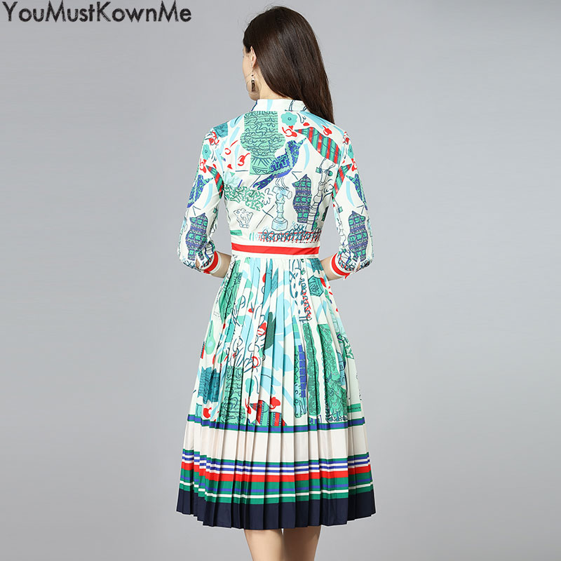 A Robes Floral Piste Femmes Pression White Robe Imprimé Youmustknowme ligne D'été Plissée 2018 Dames Élégant Casual za1xW80n