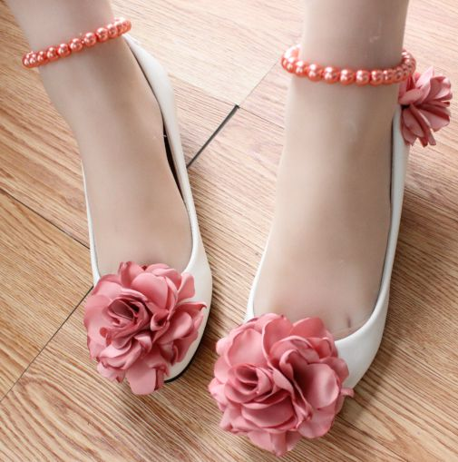 ФОТО 2017 new design pink red flowers wedding shoes for woman TG450 ankle pearls bracelet 100% hand made flowers party shoe womens